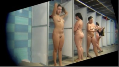 Nude Women Having Shower Before Swimming