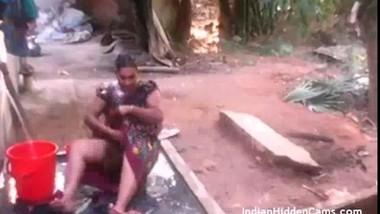 Mature Indian Housewife Open Air Outdoor Shower Filmed By Neighbor